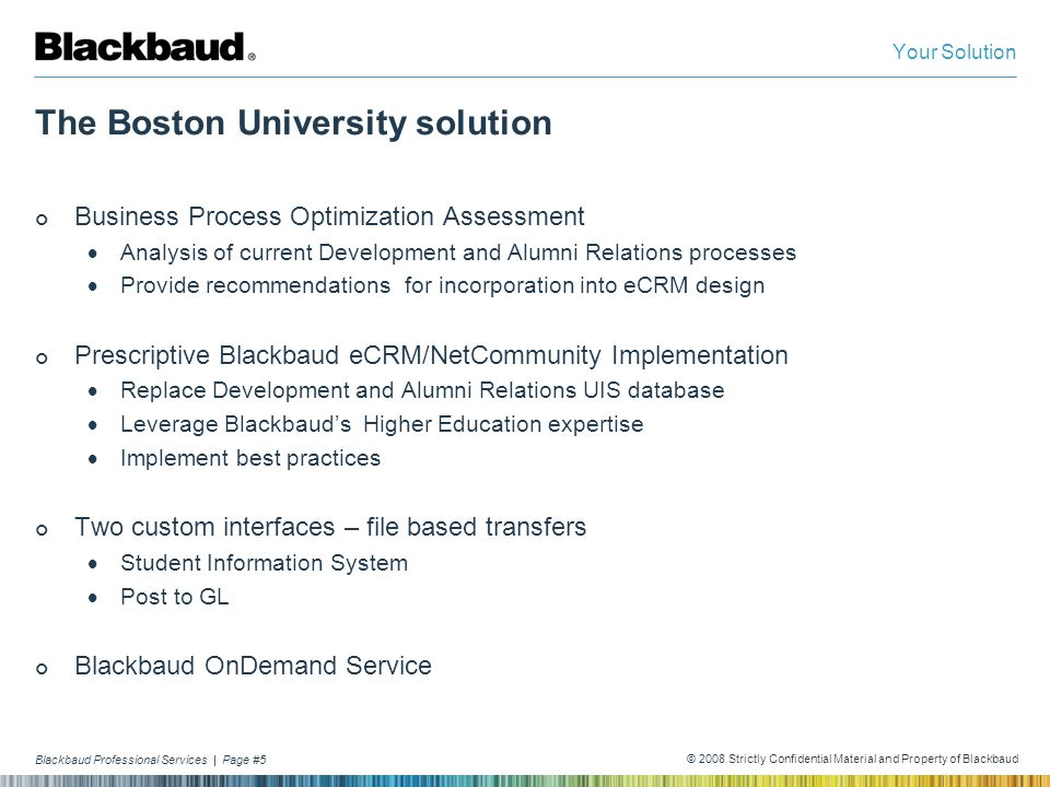 Blackbaud Professional Services | Page #5 © 2008 Strictly Confidential Material and Property of Blackbaud The Boston University solution Business Proc