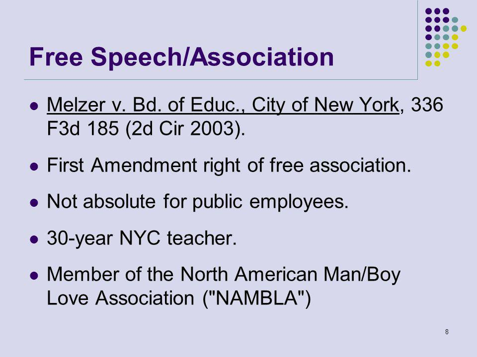 Free Speech/Association Melzer v. Bd. of Educ., City of New York, 336 F3d 185 (2d Cir 2003).