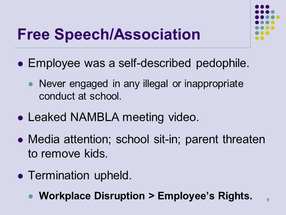 Free Speech/Association Employee was a self-described pedophile.