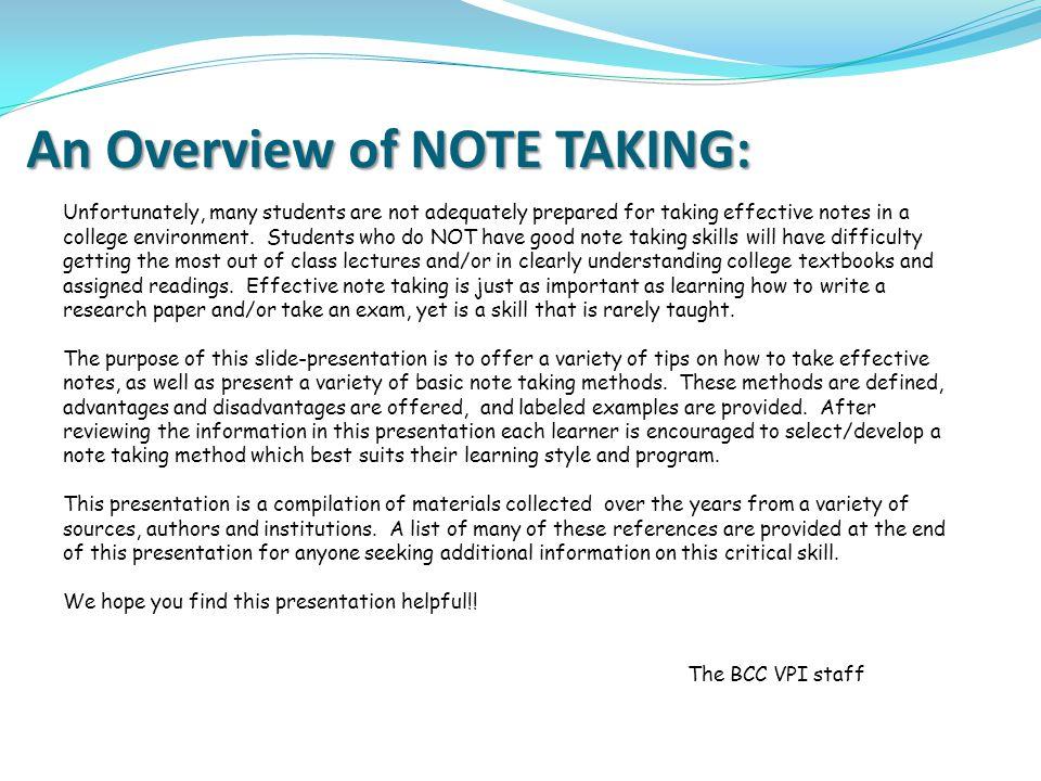 Notetaking 1016/25/08 I.Why take Notes.