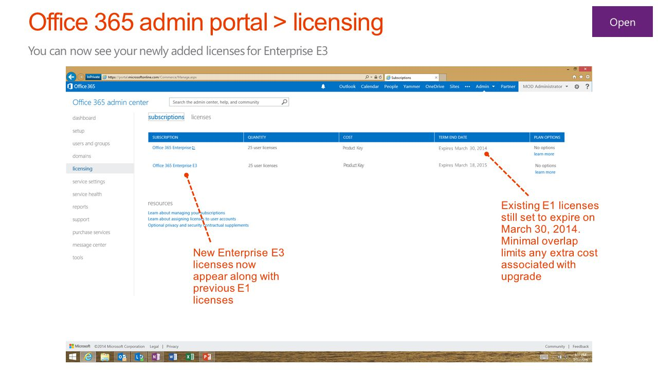 E1 New Enterprise E3 licenses now appear along with previous E1 licenses Existing E1 licenses still set to expire on March 30, 2014.