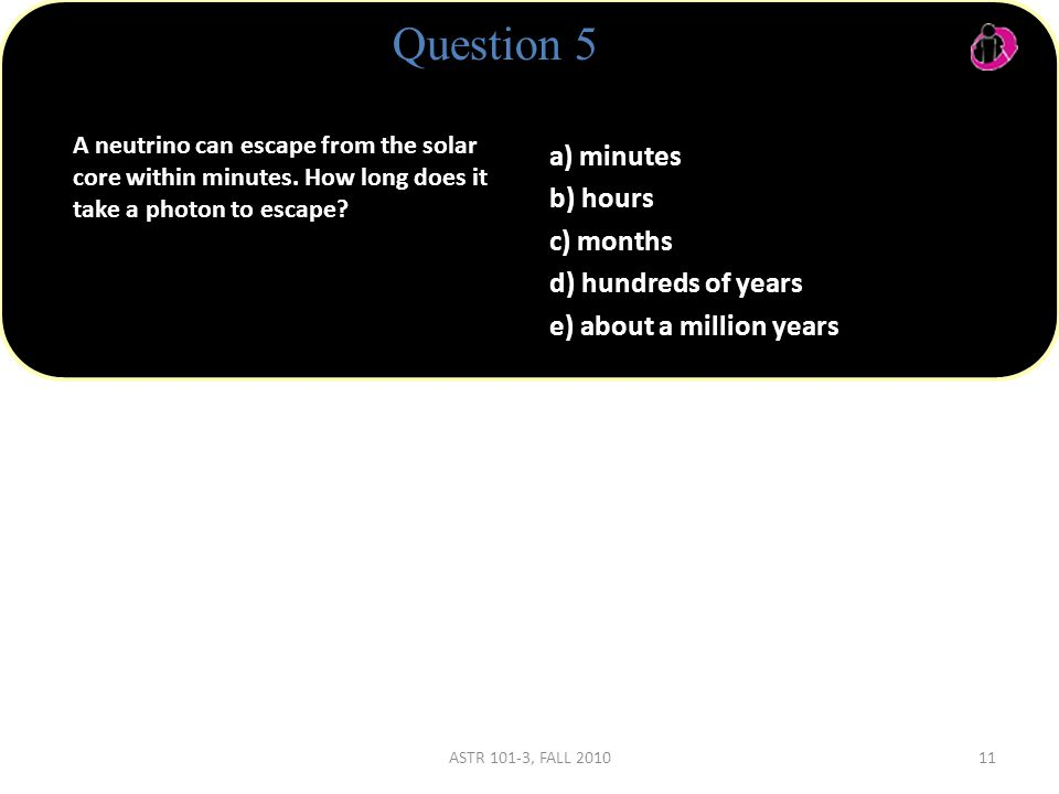 Question 5 A neutrino can escape from the solar core within minutes.