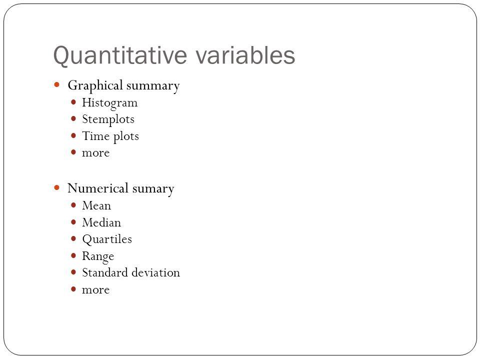Quantitative variables Graphical summary Histogram Stemplots Time plots more Numerical sumary Mean Median Quartiles Range Standard deviation more