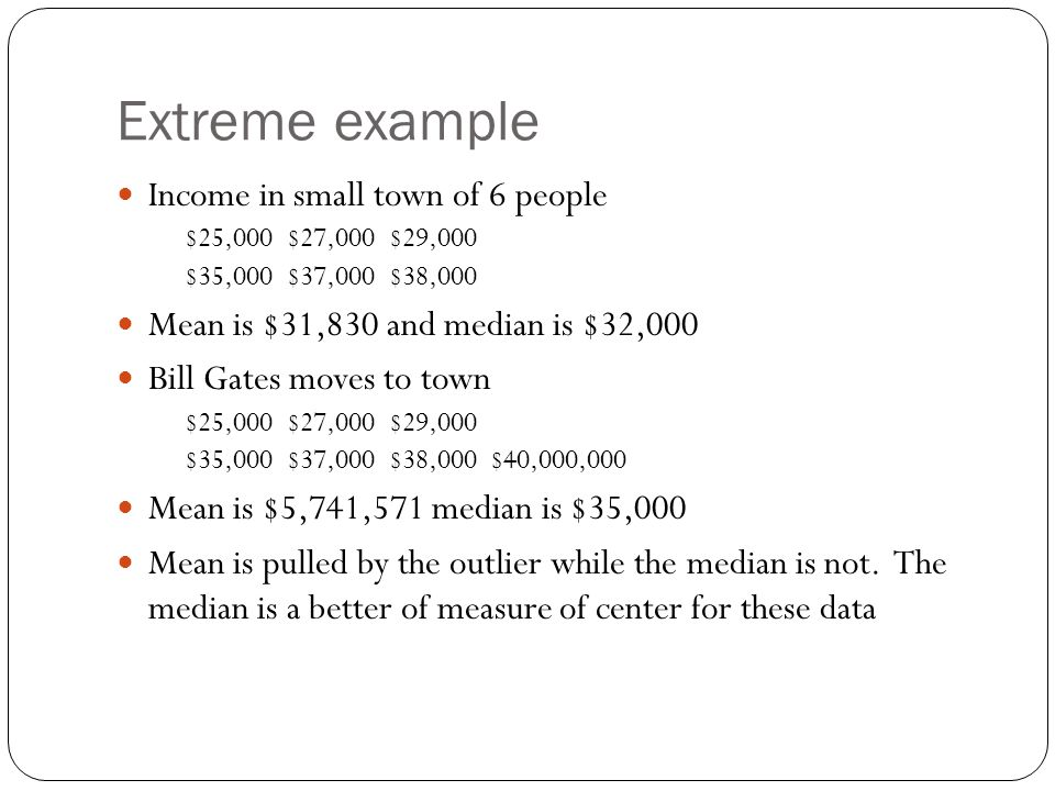 Extreme example Income in small town of 6 people $25,000 $27,000 $29,000 $35,000 $37,000 $38,000 Mean is $31,830 and median is $32,000 Bill Gates move
