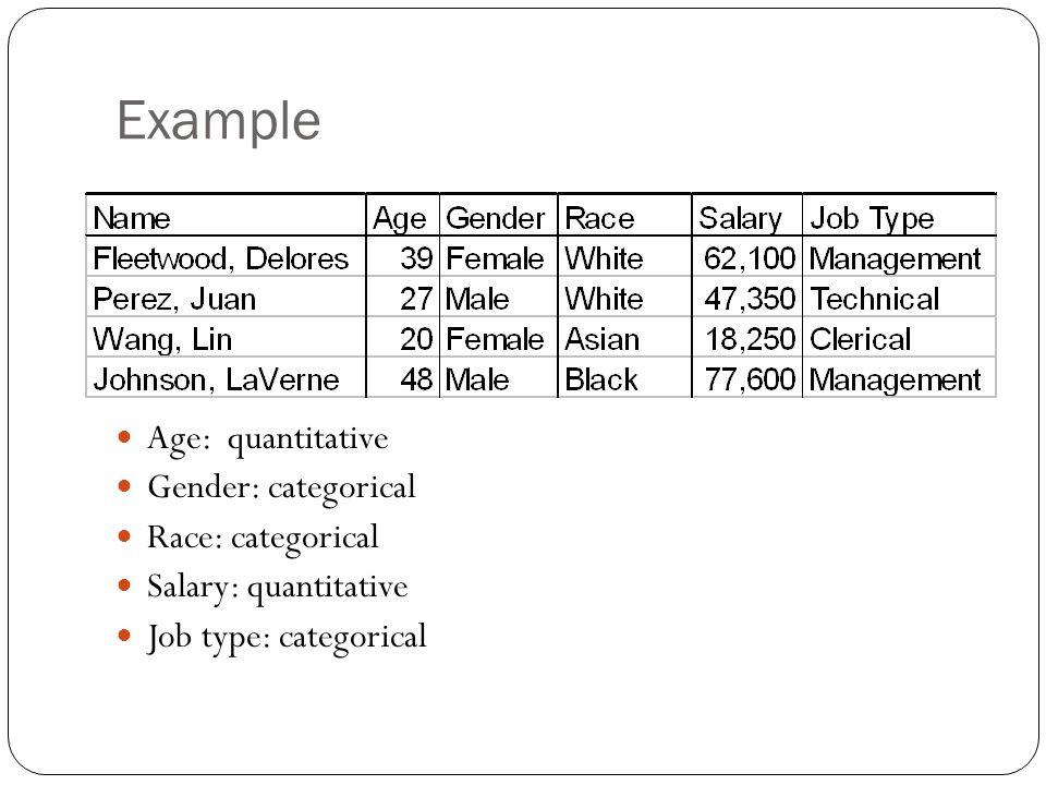 Example Age: quantitative Gender: categorical Race: categorical Salary: quantitative Job type: categorical