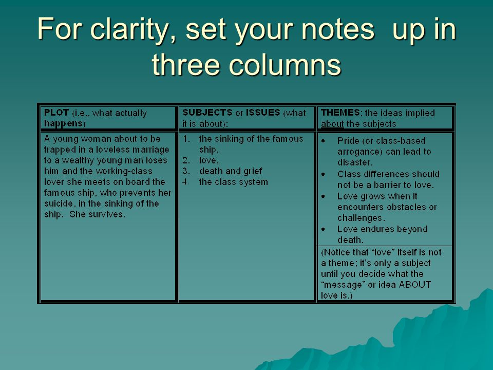 For clarity, set your notes up in three columns