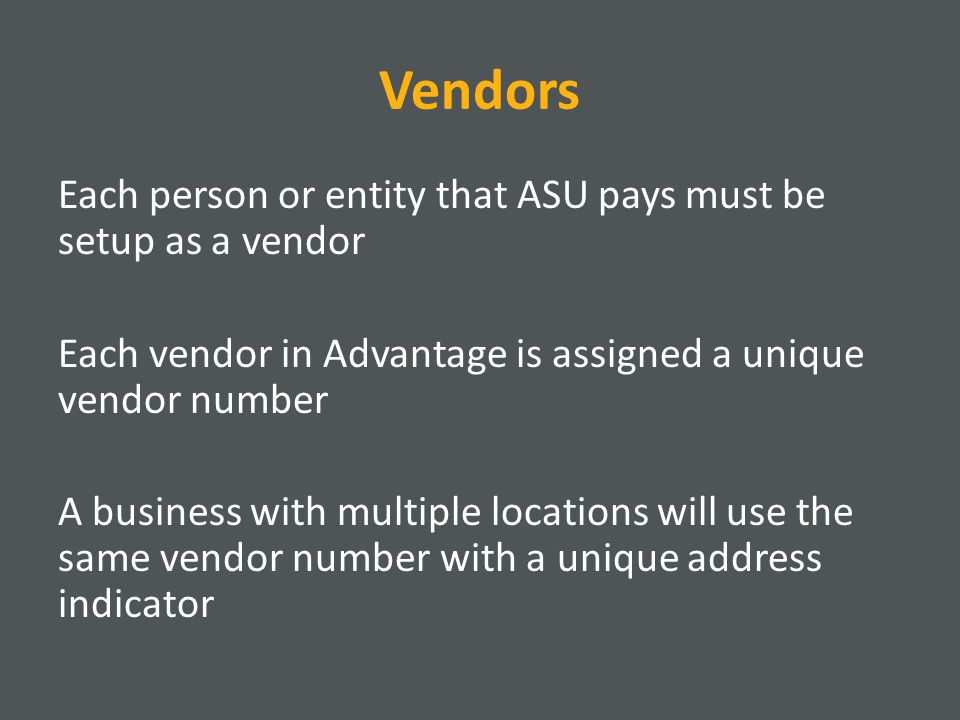 VE: Off-Campus Individual Enter INDIVIDUAL for the vendor number if the vendor is using their SSN; if not, enter the Tax ID number