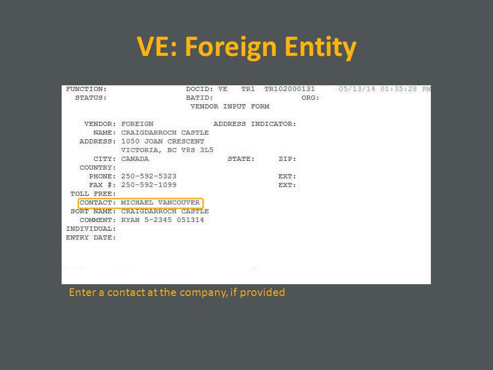 VE: Foreign Entity Enter a contact at the company, if provided