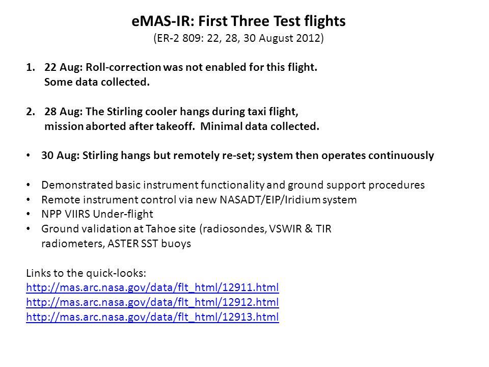 eMAS-IR: First Test flights (ER-2 809, 22, 28, 30 August 2012) Aug.