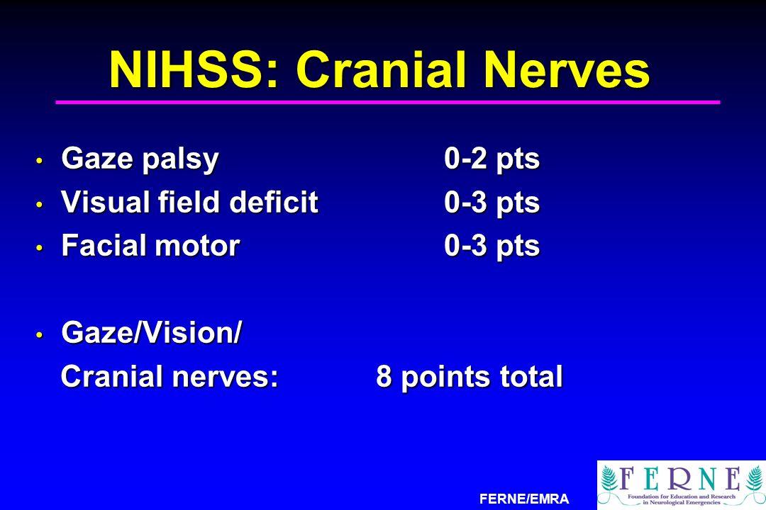 FERNE/EMRA NIHSS: Cranial Nerves Gaze palsy0-2 pts Gaze palsy0-2 pts Visual field deficit0-3 pts Visual field deficit0-3 pts Facial motor 0-3 pts Faci