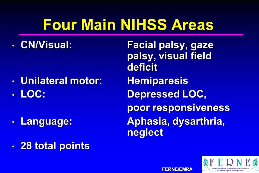 FERNE/EMRA Four Main NIHSS Areas CN/Visual:Facial palsy, gaze palsy, visual field deficit CN/Visual:Facial palsy, gaze palsy, visual field deficit Uni