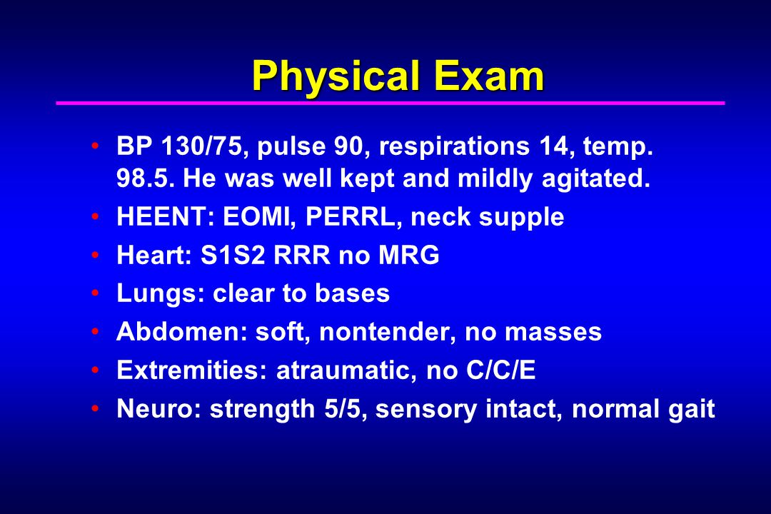 Laboratory workup CBC: normal Chem: normal Urine toxicology screen: negative Serum toxicology: screen Alcohol: negative