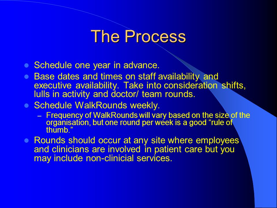 The Process Schedule one year in advance. Base dates and times on staff availability and executive availability. Take into consideration shifts, lulls