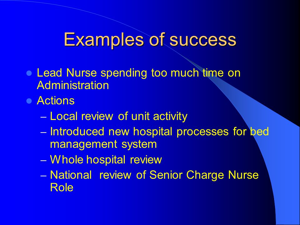 Examples of success Lead Nurse spending too much time on Administration Actions – Local review of unit activity – Introduced new hospital processes fo