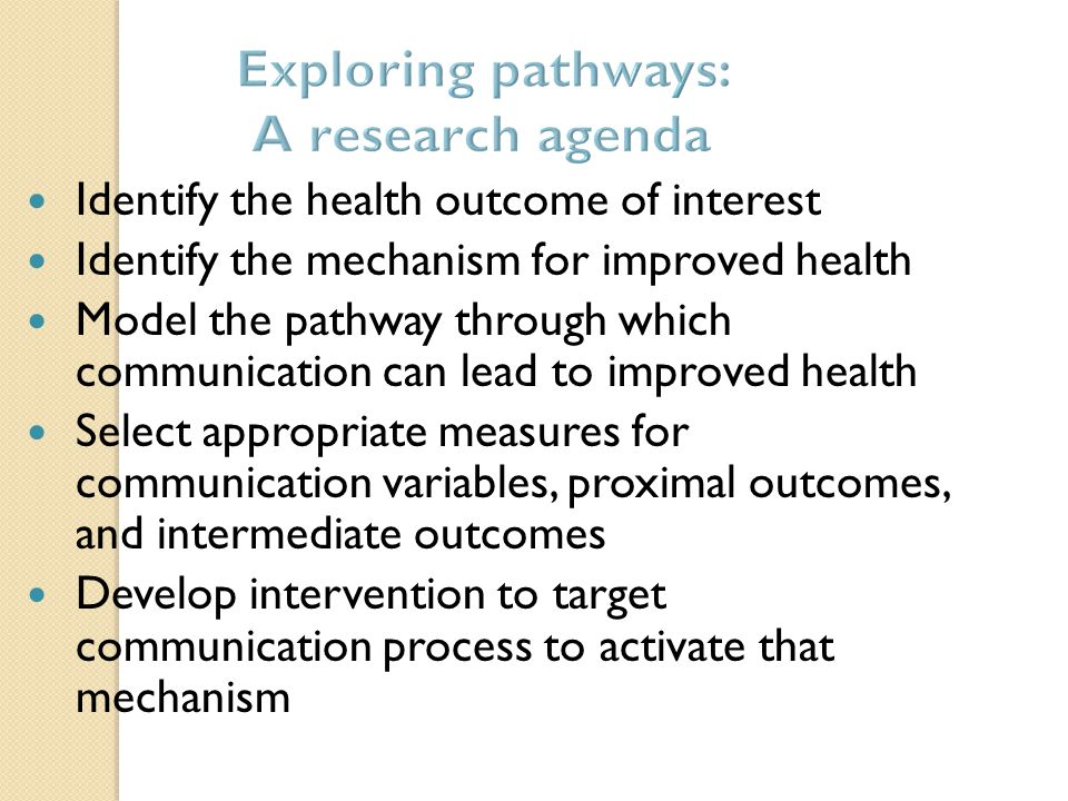 Identify the health outcome of interest Identify the mechanism for improved health Model the pathway through which communication can lead to improved