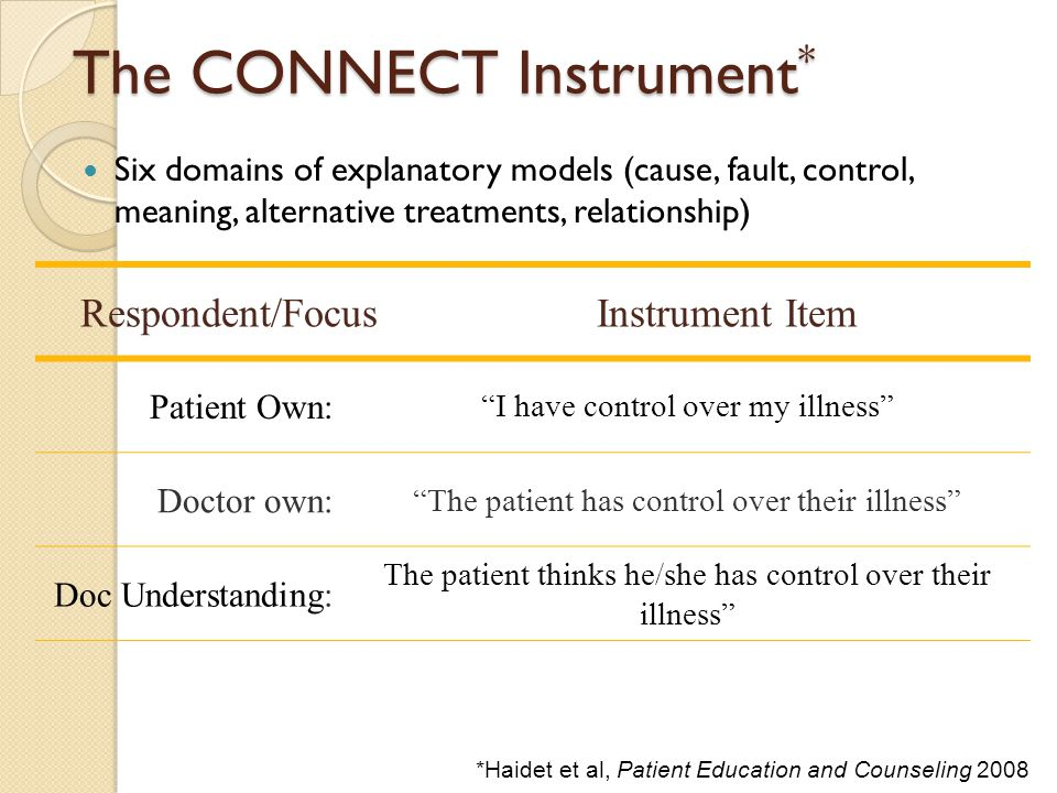 The CONNECT Instrument * Six domains of explanatory models (cause, fault, control, meaning, alternative treatments, relationship) Respondent/FocusInst
