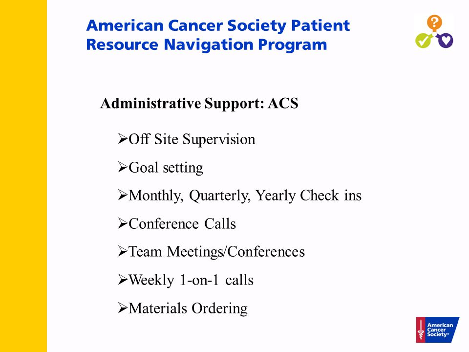 American Cancer Society Patient Resource Navigation Program  Off Site Supervision  Goal setting  Monthly, Quarterly, Yearly Check ins  Conference Calls  Team Meetings/Conferences  Weekly 1-on-1 calls  Materials Ordering Administrative Support: ACS