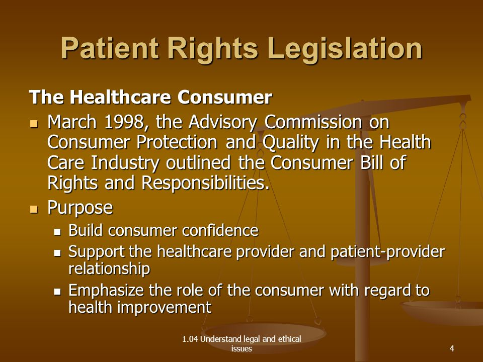 1.04 Understand legal and ethical issues Patient Rights Legislation The Healthcare Consumer March 1998, the Advisory Commission on Consumer Protection