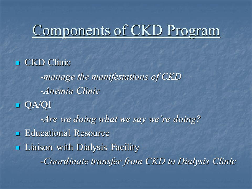 CKD Clinic: Patient Visits Determine Stage of CKD using MDRD GFR estimation Determine Stage of CKD using MDRD GFR estimation Treat complications of CKD (bone disease, disorders of Ca and P, hypertension) Treat complications of CKD (bone disease, disorders of Ca and P, hypertension) Anemia management Anemia management Risk reduction for cardiovascular disease Risk reduction for cardiovascular disease Vascular access placement by Stage IV Vascular access placement by Stage IV Provide immunizations (Hep B, influenza, pneumovax, tetanus) Provide immunizations (Hep B, influenza, pneumovax, tetanus) Nutritional counseling Nutritional counseling Education on dialysis modalities and transplantation Education on dialysis modalities and transplantation Avoidance of nephrotoxic agents Avoidance of nephrotoxic agents