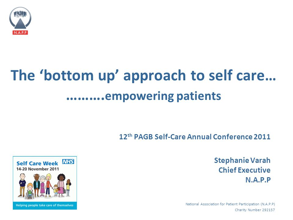 National Association for Patient Participation (N.A.P.P) Charity Number 292157 The 'bottom up' approach to self care… ……….