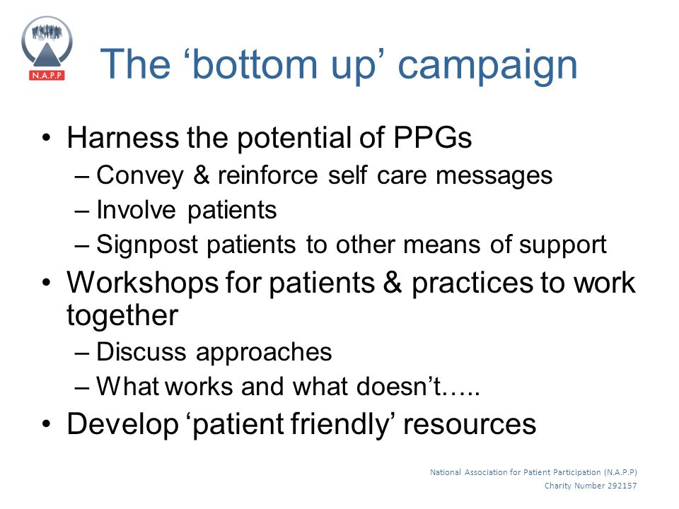 National Association for Patient Participation (N.A.P.P) Charity Number 292157 The 'bottom up' campaign Harness the potential of PPGs –Convey & reinforce self care messages –Involve patients –Signpost patients to other means of support Workshops for patients & practices to work together –Discuss approaches –What works and what doesn't…..