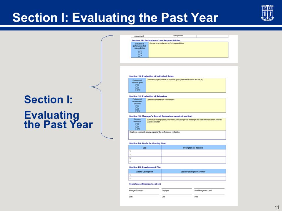 11 Section I: Evaluating the Past Year Section I: Evaluating the Past Year