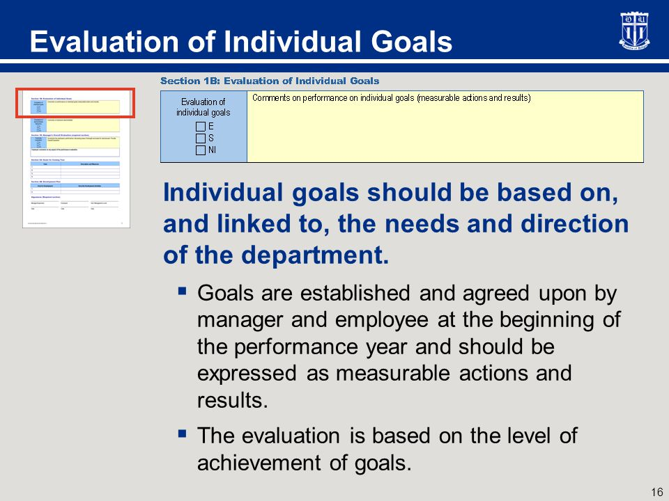 16 Evaluation of Individual Goals Individual goals should be based on, and linked to, the needs and direction of the department.  Goals are establish