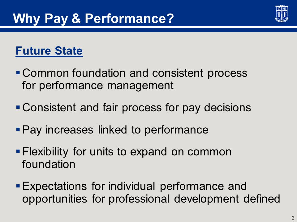 3 Why Pay & Performance? Future State  Common foundation and consistent process for performance management  Consistent and fair process for pay deci
