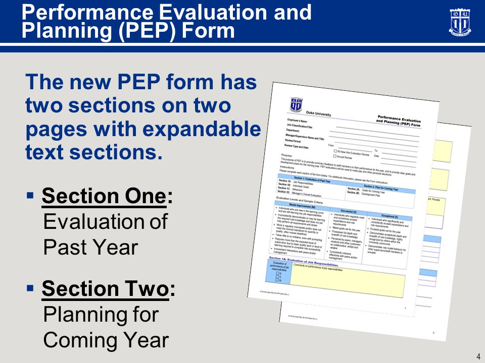 4 Performance Evaluation and Planning (PEP) Form The new PEP form has two sections on two pages with expandable text sections.  Section One: Evaluati