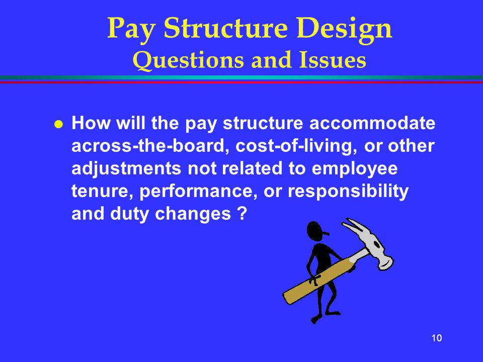 10 l How will the pay structure accommodate across-the-board, cost-of-living, or other adjustments not related to employee tenure, performance, or res
