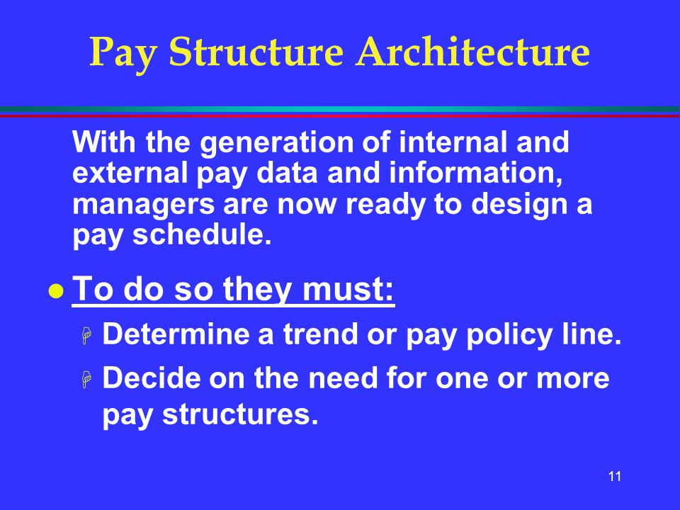 11 Pay Structure Architecture With the generation of internal and external pay data and information, managers are now ready to design a pay schedule.