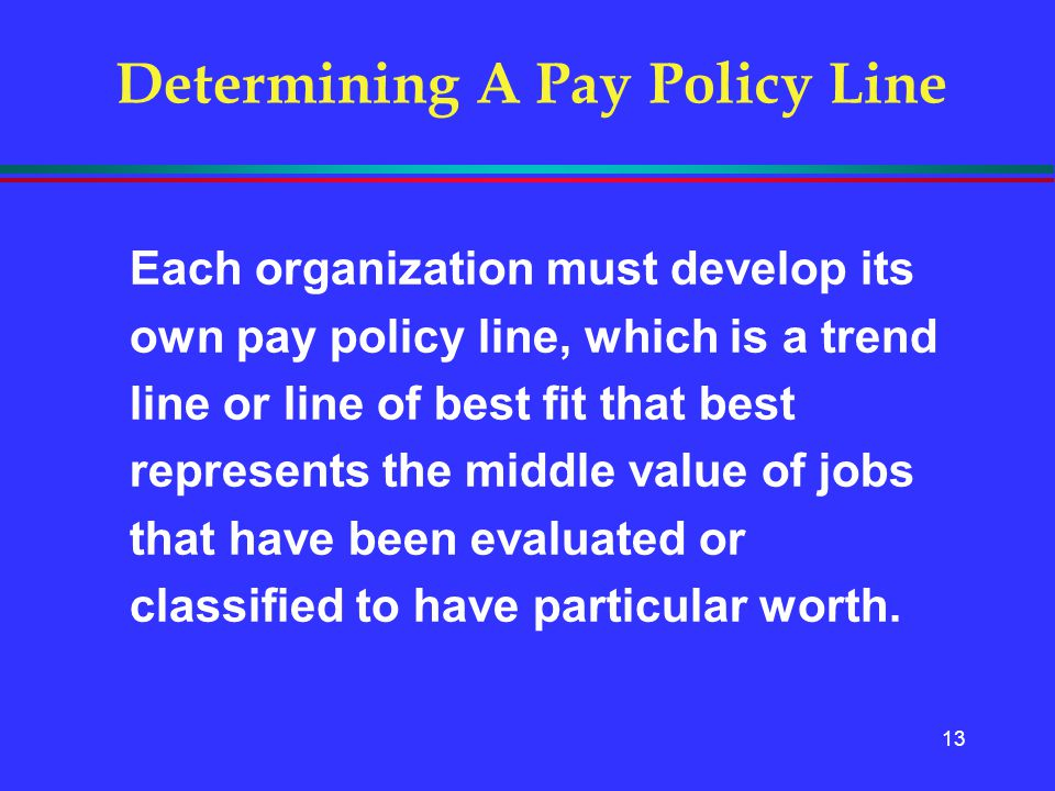 13 Determining A Pay Policy Line Each organization must develop its own pay policy line, which is a trend line or line of best fit that best represent