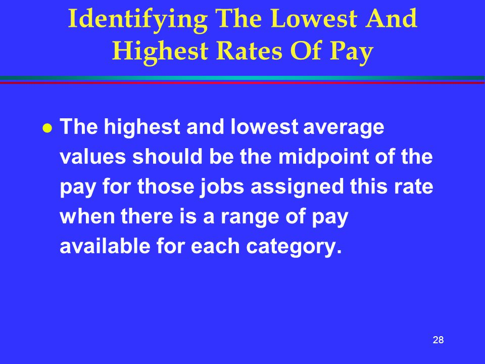 28 Identifying The Lowest And Highest Rates Of Pay l The highest and lowest average values should be the midpoint of the pay for those jobs assigned t