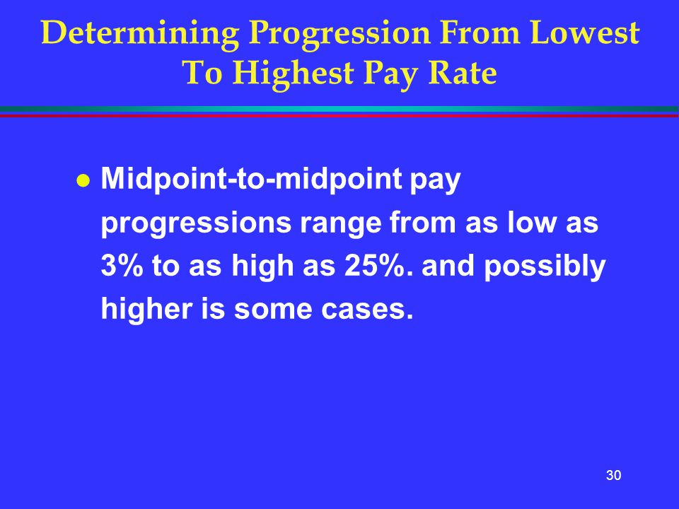 30 l Midpoint-to-midpoint pay progressions range from as low as 3% to as high as 25%. and possibly higher is some cases. Determining Progression From