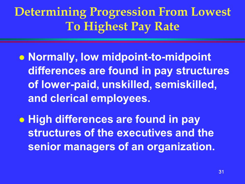 31 Determining Progression From Lowest To Highest Pay Rate l Normally, low midpoint-to-midpoint differences are found in pay structures of lower-paid,