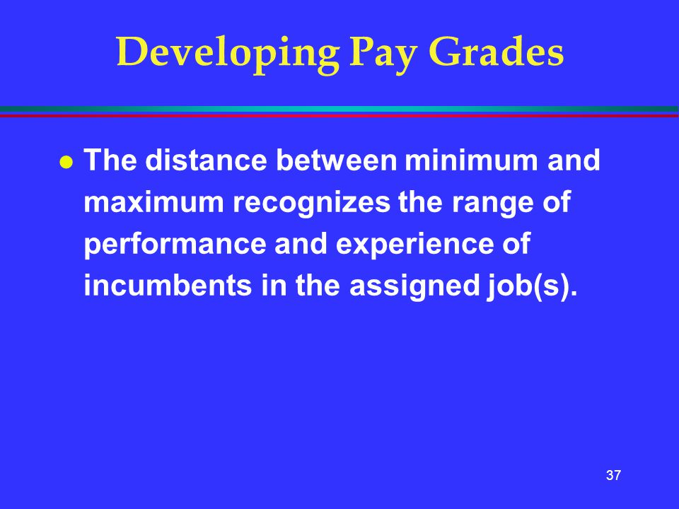 37 Developing Pay Grades l The distance between minimum and maximum recognizes the range of performance and experience of incumbents in the assigned j