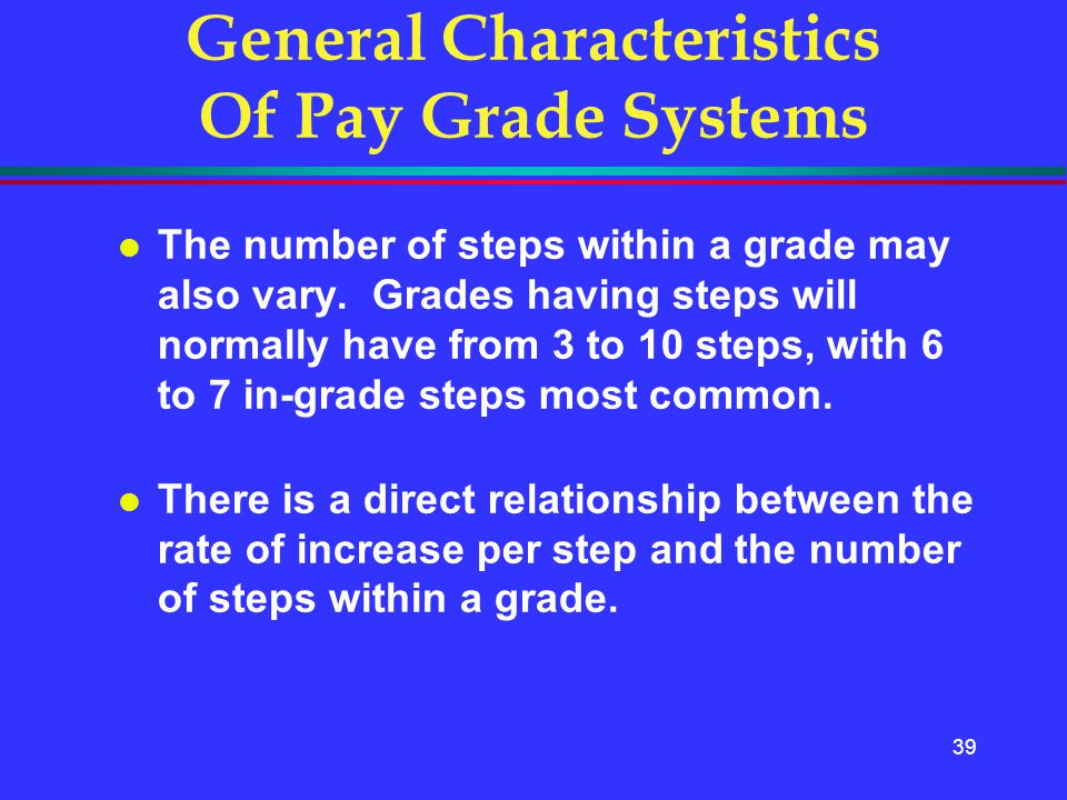 39 General Characteristics Of Pay Grade Systems l The number of steps within a grade may also vary. Grades having steps will normally have from 3 to 1