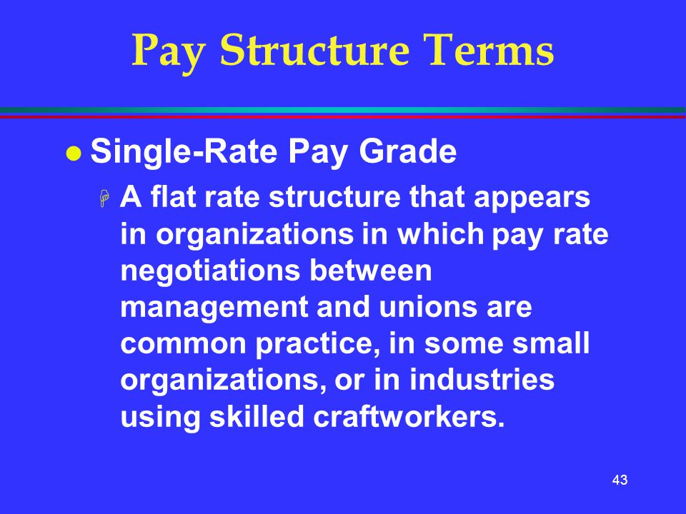 43 Pay Structure Terms l Single-Rate Pay Grade H A flat rate structure that appears in organizations in which pay rate negotiations between management