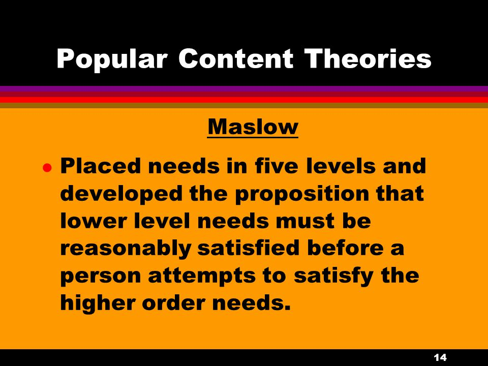 14 Popular Content Theories Maslow l Placed needs in five levels and developed the proposition that lower level needs must be reasonably satisfied bef