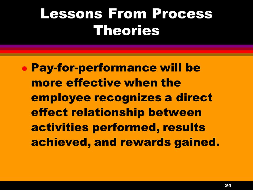 21 Lessons From Process Theories l Pay-for-performance will be more effective when the employee recognizes a direct effect relationship between activi
