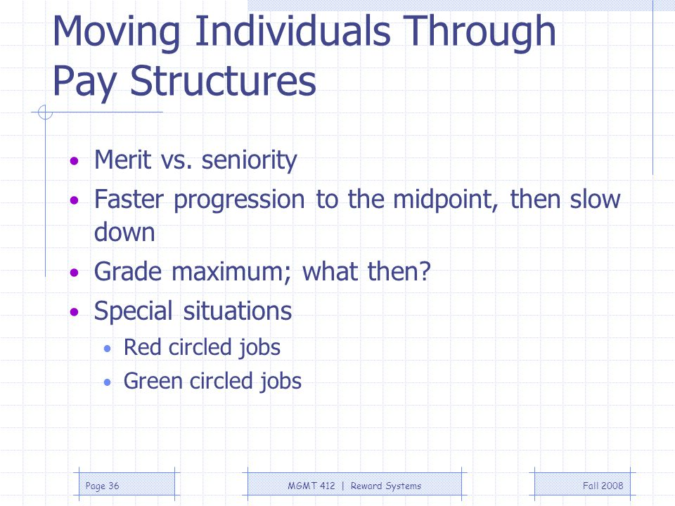 Fall 2008MGMT 412 | Reward SystemsPage 36 Moving Individuals Through Pay Structures Merit vs. seniority Faster progression to the midpoint, then slow