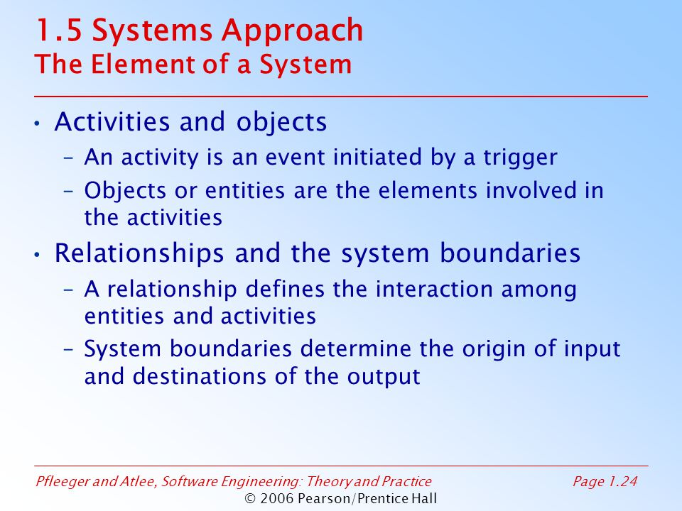 Pfleeger and Atlee, Software Engineering: Theory and PracticePage 1.24 © 2006 Pearson/Prentice Hall 1.5 Systems Approach The Element of a System Activ