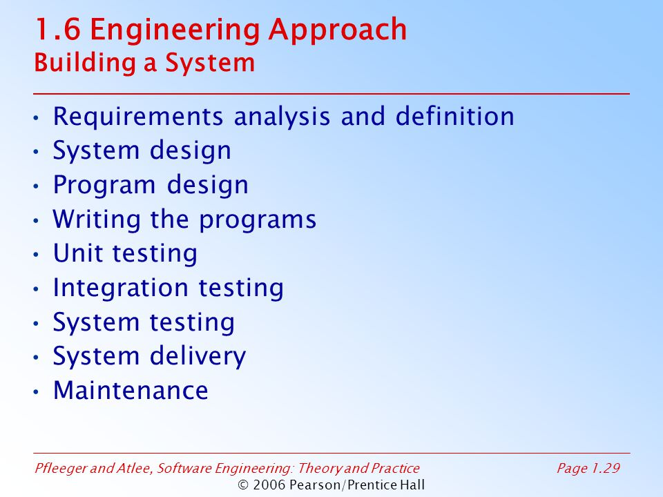 Pfleeger and Atlee, Software Engineering: Theory and PracticePage 1.29 © 2006 Pearson/Prentice Hall 1.6 Engineering Approach Building a System Require