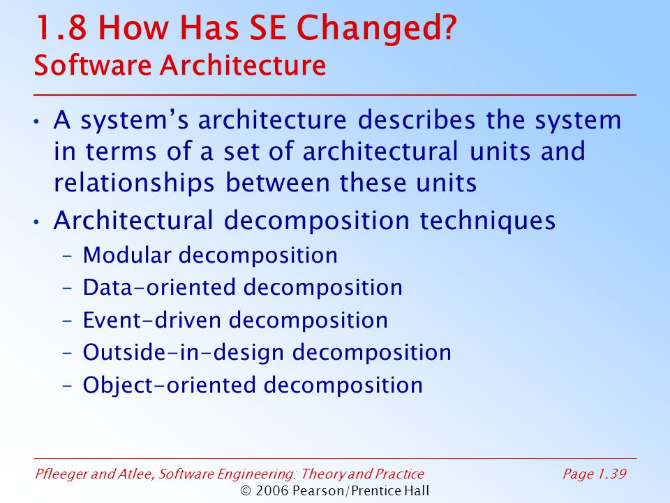 Pfleeger and Atlee, Software Engineering: Theory and PracticePage 1.39 © 2006 Pearson/Prentice Hall 1.8 How Has SE Changed? Software Architecture A sy
