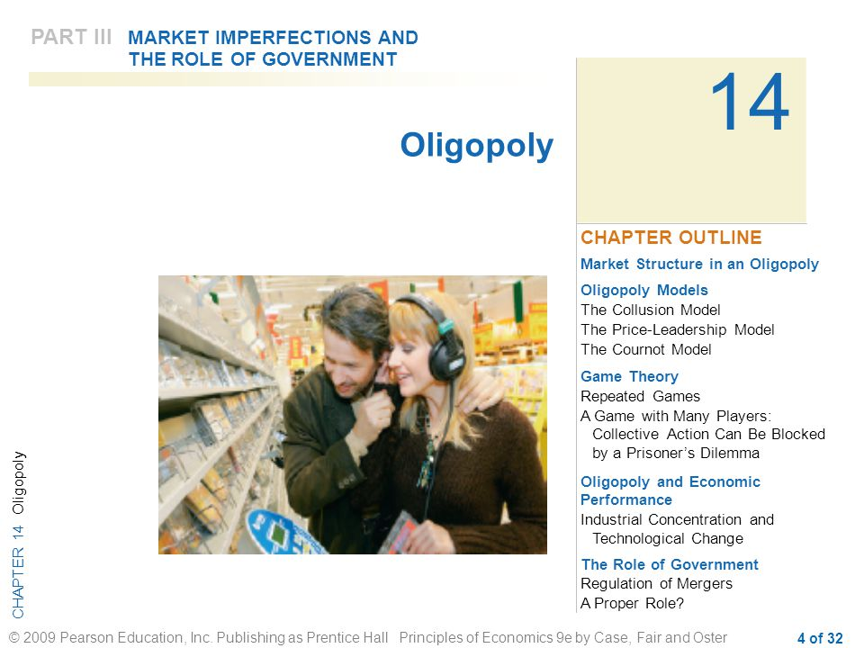 CHAPTER 14 Oligopoly © 2009 Pearson Education, Inc. Publishing as Prentice Hall Principles of Economics 9e by Case, Fair and Oster 4 of 32 14 Market S
