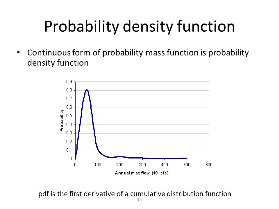 13 Probability density function Continuous form of probability mass function is probability density function pdf is the first derivative of a cumulative distribution function