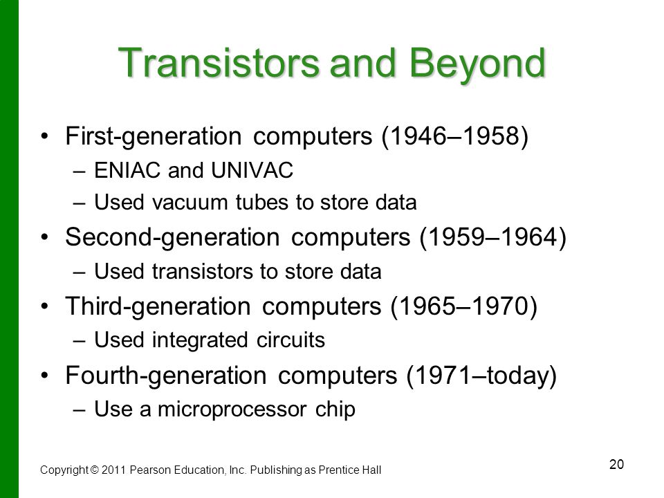 20 Transistors and Beyond First-generation computers (1946–1958) – –ENIAC and UNIVAC – –Used vacuum tubes to store data Second-generation computers (1959–1964) – –Used transistors to store data Third-generation computers (1965–1970) – –Used integrated circuits Fourth-generation computers (1971–today) – –Use a microprocessor chip Copyright © 2011 Pearson Education, Inc.
