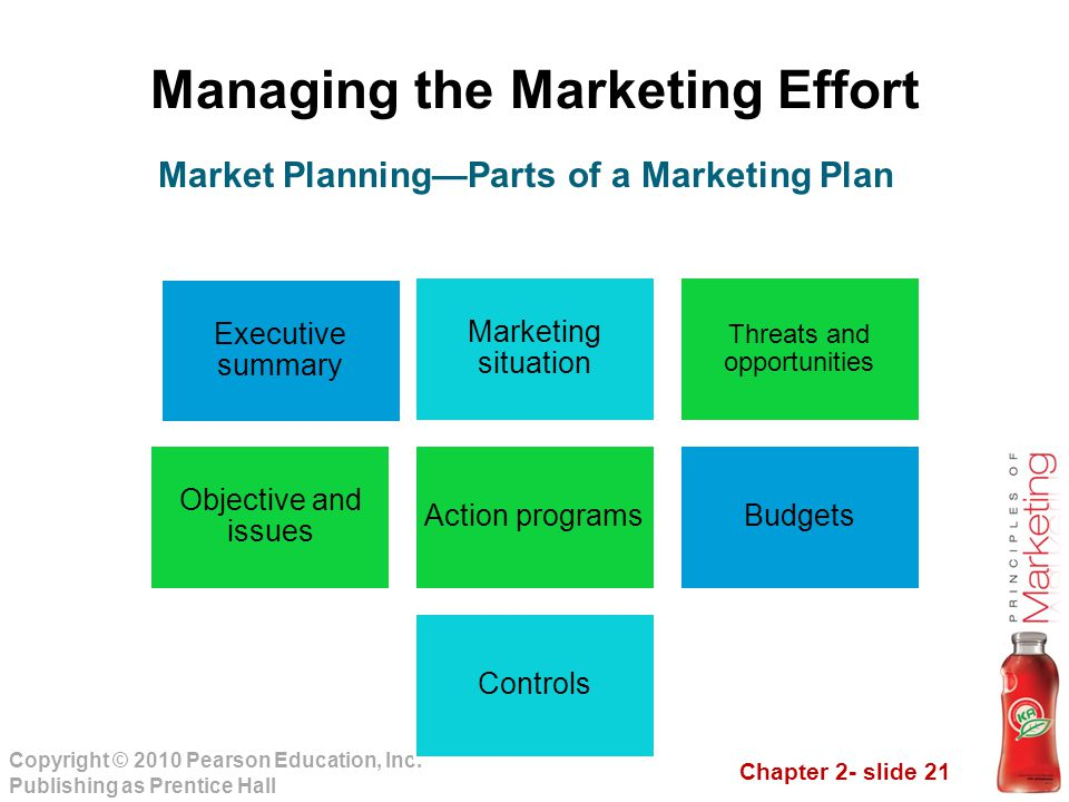 Chapter 2- slide 21 Copyright © 2010 Pearson Education, Inc. Publishing as Prentice Hall Managing the Marketing Effort Executive summary Marketing sit