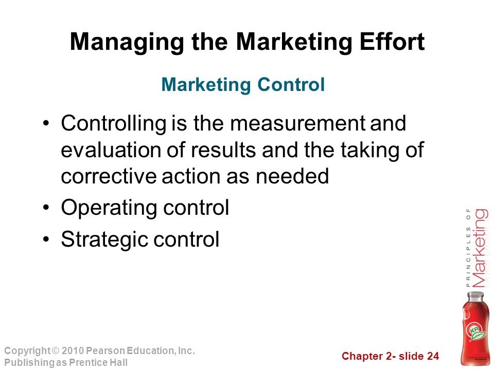 Chapter 2- slide 24 Copyright © 2010 Pearson Education, Inc. Publishing as Prentice Hall Managing the Marketing Effort Controlling is the measurement