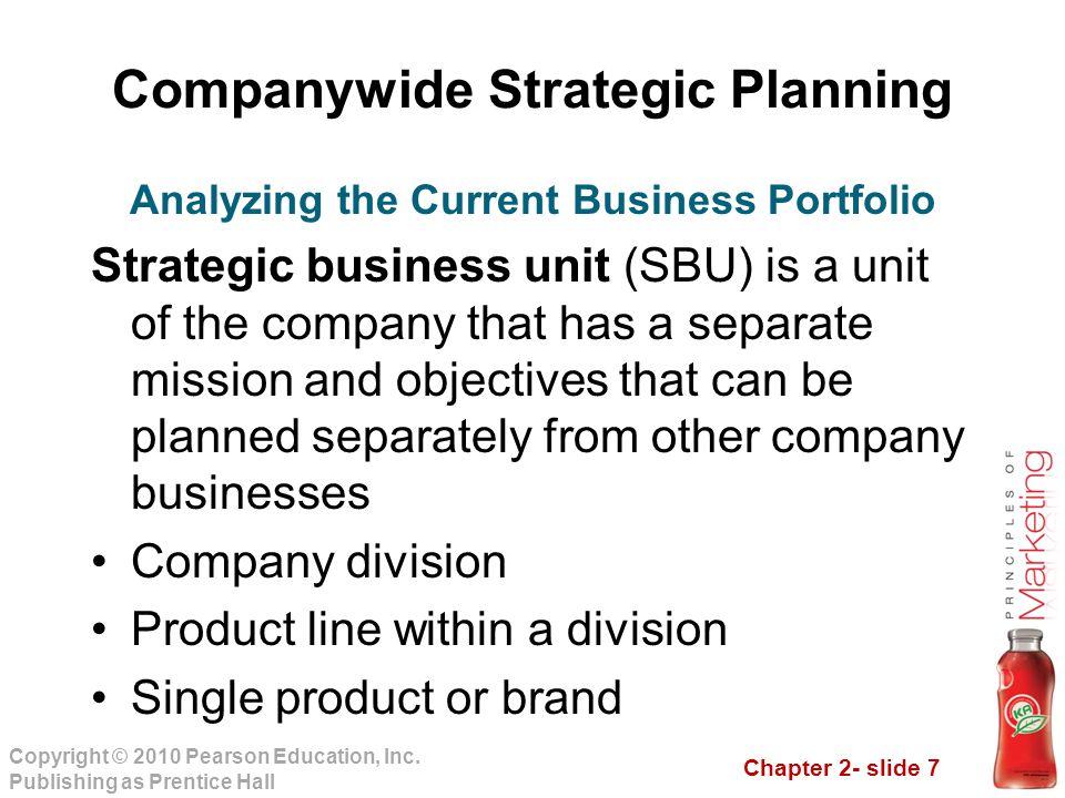 Chapter 2- slide 7 Copyright © 2010 Pearson Education, Inc. Publishing as Prentice Hall Companywide Strategic Planning Strategic business unit (SBU) i